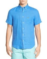 Camicia a maniche corte di lino azzurra