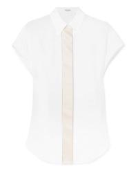 Camicia a maniche corte di lino bianca di Brunello Cucinelli