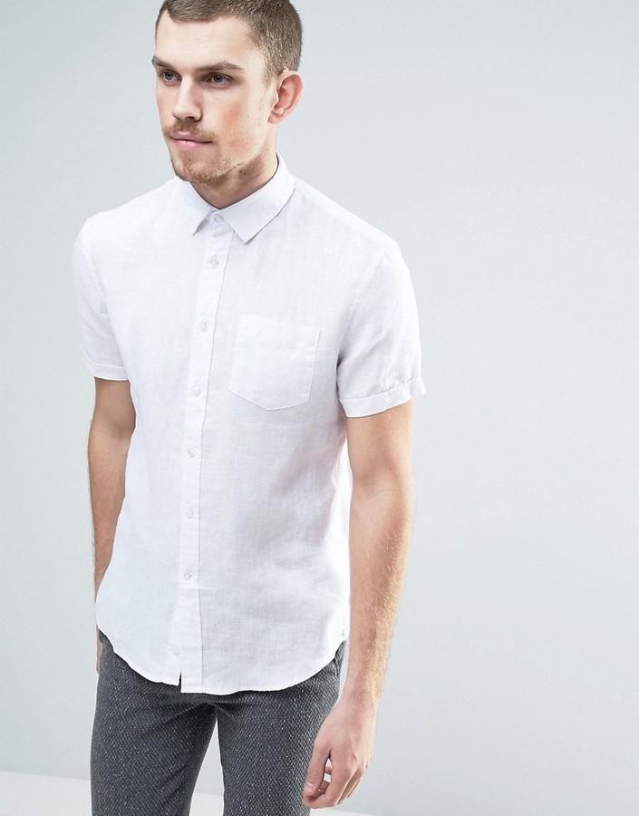 timeless design 94439 b09c2 Camicia a maniche corte di lino bianca di Celio