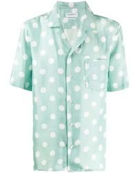 Camicia a maniche corte di seta stampata verde menta