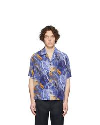 Camicia a maniche corte effetto tie-dye blu di Deveaux New York