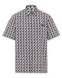 Camicia a maniche corte geometrica grigia di Prada
