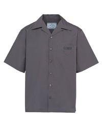 Camicia a maniche corte grigio scuro di Prada