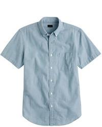 Camicia a maniche corte in chambray blu