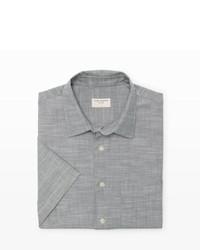 Camicia a maniche corte in chambray grigia