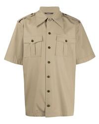 Camicia a maniche corte marrone chiaro di Dolce & Gabbana