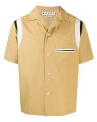 Camicia a maniche corte marrone chiaro di Marni