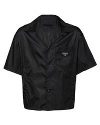Camicia a maniche corte nera di Prada