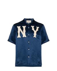... Camicia a maniche corte ricamata blu scuro di Gucci 366904608c8