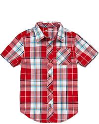 Camicia a maniche corte scozzese rossa