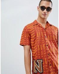 Camicia a maniche corte stampata arancione di Nudie Jeans