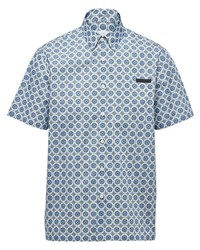 Camicia a maniche corte stampata azzurra di Prada