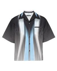 Camicia a maniche corte stampata blu scuro e bianca di Prada