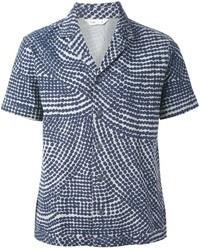 Camicia a maniche corte stampata blu scuro