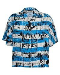 Camicia a maniche corte stampata blu di Prada