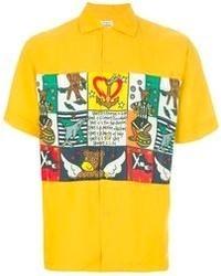 Camicia a maniche corte stampata gialla