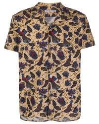 Camicia a maniche corte stampata marrone chiaro di Daniele Alessandrini