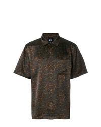 Camicia a maniche corte stampata marrone scuro
