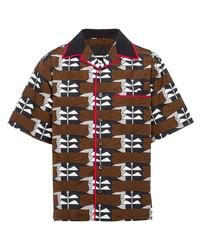 Camicia a maniche corte stampata marrone di Prada