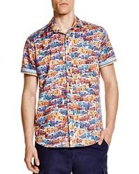 Camicia a maniche corte stampata multicolore