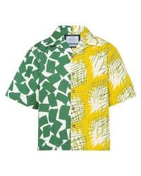 Camicia a maniche corte stampata multicolore di Prada