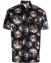 Camicia a maniche corte stampata nera