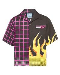 Camicia a maniche corte stampata nera di Prada