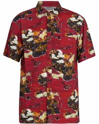 Camicia a maniche corte stampata rossa