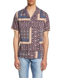 Camicia a maniche corte stampata viola melanzana
