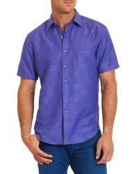Camicia a maniche corte stampata viola