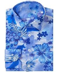 Camicia a maniche lunghe a fiori bianca e blu
