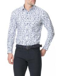 Camicia a maniche lunghe a fiori bianca e blu scuro