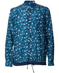 Camicia a maniche lunghe a fiori blu