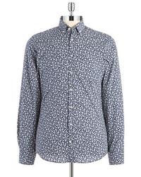 Camicia a maniche lunghe a fiori blu scuro e bianca