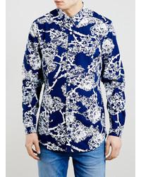 Camicia a maniche lunghe a fiori blu scuro
