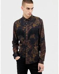 Camicia a maniche lunghe a fiori marrone scuro di ASOS Edition