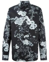Camicia a maniche lunghe a fiori nera e bianca