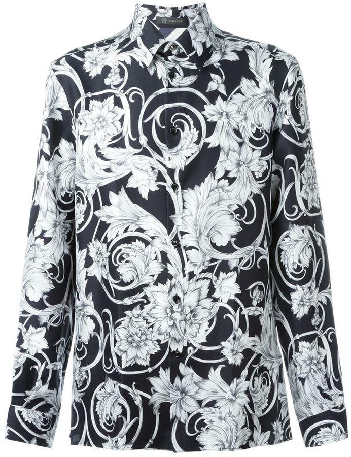 A Fiori E Versace€704 Maniche Camicia Nera Di Bianca Lunghe ON8nwkZ0XP