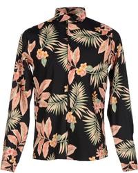 Camicia a maniche lunghe a fiori nera