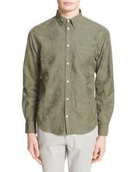 Camicia a maniche lunghe a fiori verde oliva