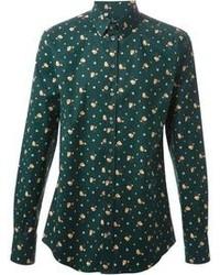 Camicia a maniche lunghe a fiori verde scuro