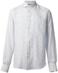 Camicia a maniche lunghe a pois bianca