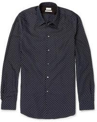 Camicia a maniche lunghe a pois blu scuro e bianca