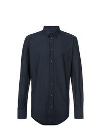 Camicia a maniche lunghe a pois blu scuro di Dolce & Gabbana
