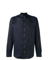 Camicia a maniche lunghe a pois blu scuro di Emporio Armani