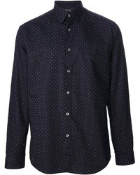 Camicia a maniche lunghe a pois blu scuro di Paul Smith