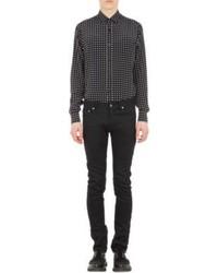 Camicia a maniche lunghe a pois nera e bianca