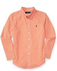 Camicia a maniche lunghe a quadretti arancione
