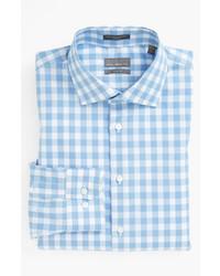 Camicia a maniche lunghe a quadretti azzurra