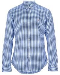 Camicia a maniche lunghe a quadretti bianca e blu